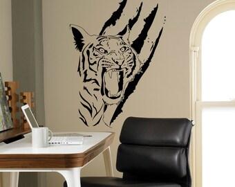 Tiger Scratch Wall Decal Predatory Beast Vinyl Sticker Home Interior Wall  Art Decor Mural Housewares Custom