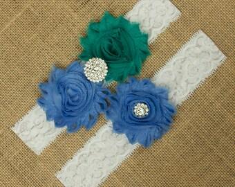 Blue and Green Wedding Garter, Bridal Garter Set, Flower Wedding Garter, Flower Garter Set, Wedding Garters, Bridal Garters, Garter SCW2-46