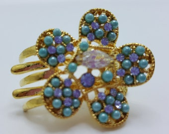 New Gold  Turqouise  & Crystal Side 1'' Hair Claw Clip