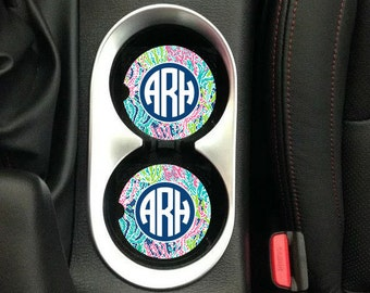 Personalized Car Coasters, Monogrammed Car Coasters, Lilly Inspired Car Coasters, Personalized Gift,  Sandstone Coasters, Lilly Monogram
