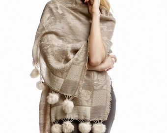 Beige wool shawl with real fur pom poms