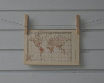 1956 Vintage World Rainfall Map