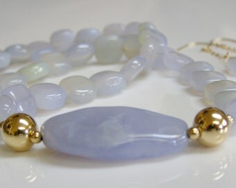 Blue Necklace and Earrings - Periwinkle Blue Chalcedony and 14K Gold Fill, Blue and Gold, Blue - Periwinkle Stone / Gemstone Necklace Set
