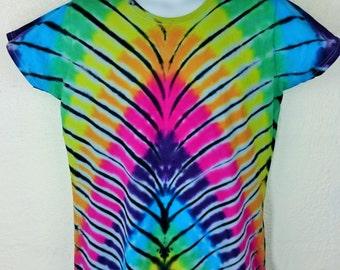 Tie Dye T-Shirt, Women's Gift, Teenage girl gift, Women's tie dye, Women's t-shirt, Rainbow Tshirt, Gay Pride, UK 16-18 2XL, Peacock pattern