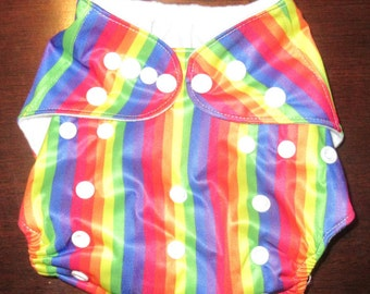 Adjustable Snap Reusable Pocket Cloth Diaper Cover with 2 free inserts Rainbow Stripes Print