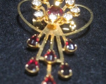 Vintage Red and White Rhinestone Brooch