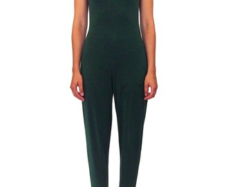 NORMA KAMALI OMO Cutout Jumpsuit Size Medium Vintage 80s Green Catsuit Stirrups