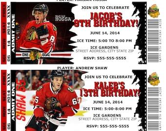 Printable Birthday Party Invitation Card Chicago Blackhawks Birthday Ticket Invitation NHL Hockey Weddings Baby Showers Bar Mitzvahs
