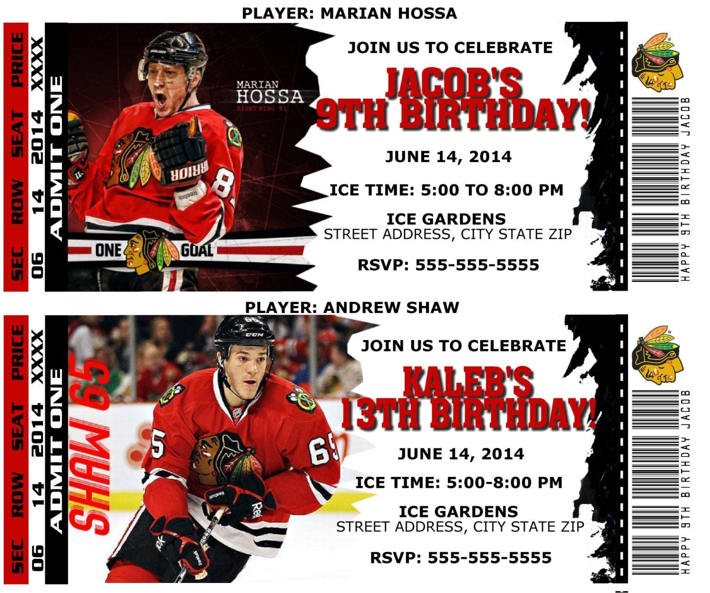 Printable Birthday Party Invitation Card Chicago Blackhawks