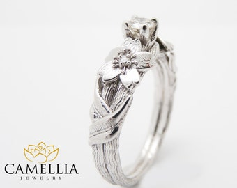 Branch Diamond Engagement Ring 14K Solid White Gold Diamond Ring Twig Elf Ring Sakura Tree Branch Engagement Rings