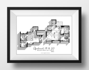 Friends TV Show Apartment Floor Plan In Black And White   Friends TV Show  Layout