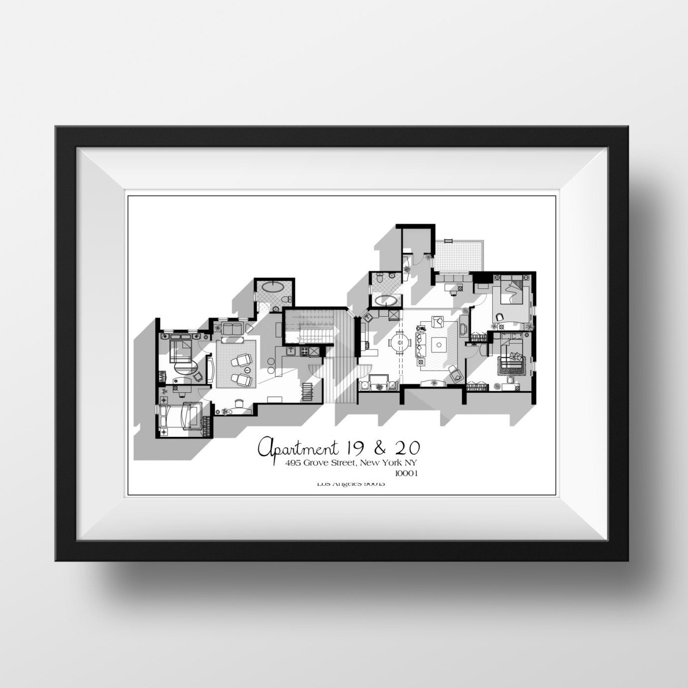 Friends Tv Show Apartment Floor Plan In Black And White