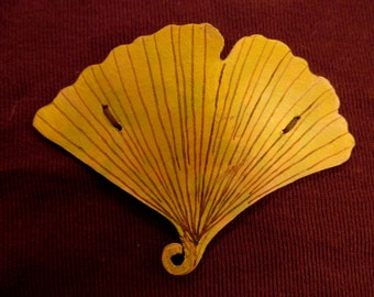 Hand Painted Leather Leaf Barrette -- Ginkgo