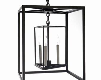 Wrought Iron Inner Triangle Style Lantern