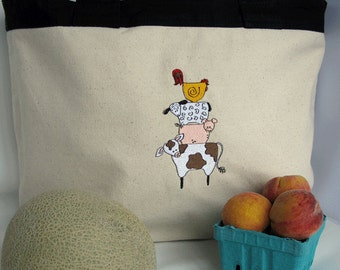 Farmers Market Tote Bag - Reusable Shopping Bag - Stack of Farm Animals Canvas Tote