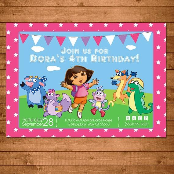 Dora the Explorer Invitation Pink Stars -- Dora Invite -- Dora the Explorer Birthday --Dora the Explorer Party Favors