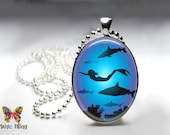 Colorful Mermaid pendant - Glass Cabochon 30x40mm large oval pendant Swimming Mermaid art image silver photo pendant