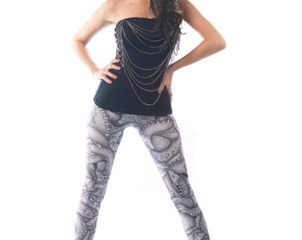 Dragon Leggings, Artistic Sketched Printed Black and White, Art by Kim van Steenbergen, High Waisted Ladies Tights