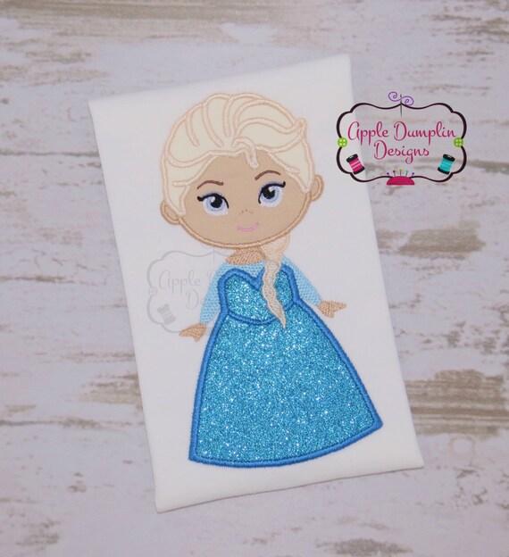 Frozen elsa applique design machine embroidery anna