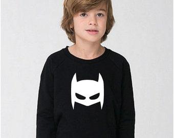 The Bat Mask Sweatshirt , unisex, gender neutral, batman, bat man, cute boy clothing, cute girl clothing, toddler clothing, warm sweatshirt