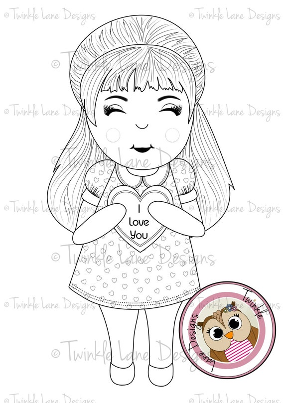 I Love You Girl Digi Stamps for Valentine's Day or Anniversary, Girl holding I Love You Heart,  Printable Digital Stamp, Instant Download