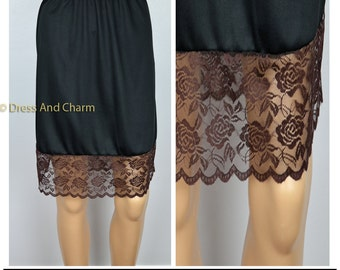 Brown Lace skirt extender, lace slip extender, extender slip, lace dress extender, women's skirt
