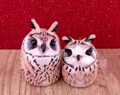 Two Cuddling Striped Owls- love birds- christmas gift- owl figurines- owl totem- I love you