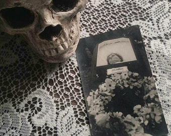 Haunting ghostly antique RPPC picture postcard of a post mortem mother woman in casket mourning