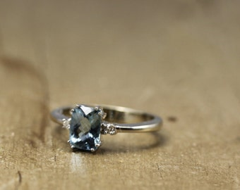 Brilliant Emerald Cut  Sky Blue Ring For Her