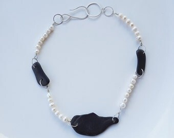 Organic Slate and Pearl Necklace - Fresh water pearl and Slate Necklace, Hand forged clasp