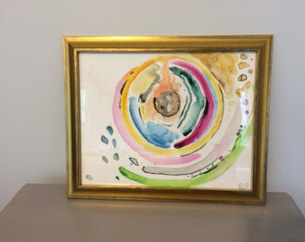 Abstract Watercolor- Gouache- Framed 11x14