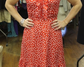 Vintage Red Polka Dot Dress with Ruffles on top