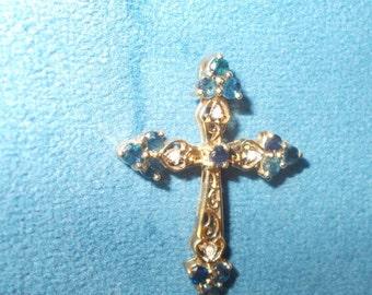 Solid 10k sapphire and diamond yellow gold cross