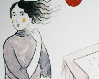 Girl in Violet Dress - Print