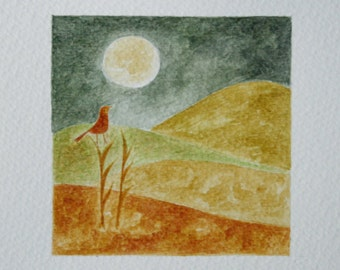Original Watercolor Painting - Red Bird Singing to the Moon