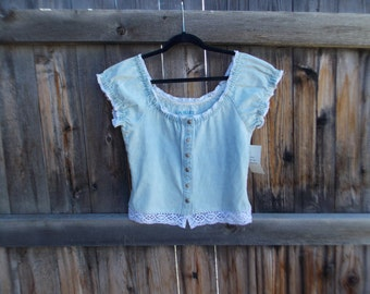 90s Denim and Lace Top
