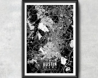 AUSTIN Texas Map with Coordinates, Austin Map, Map Art, Map Print, Austin Print, Austin Art, Austin Wall Art, Map, Austin, Texas, Wall Art