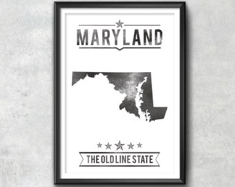 MARYLAND State Typography Print, Typography Poster, Maryland Poster, Maryland Art, Maryland Gift, Maryland Decor, Maryland Print, Maryland