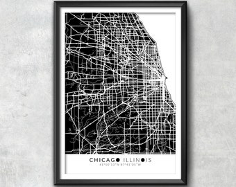 CHICAGO Map with Coordinates, Chicago Map, Map Art, Map Print, Chicago Print, Chicago Art, Chicago Gift,  Chicago Decor, Chicago Poster