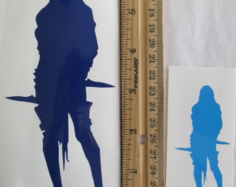 Vinyl Gamer RPG Car Window Decal Sticker Female Rogue Assassin with Two Daggers Silhouette Role Playing Game Gaming D&D Dungeons Dragons