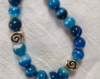 Blue agates with snails of silver