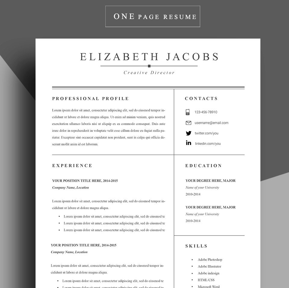 Photo Resume Templates Professional Cv Formats: Resume Template Cv Template Professional Resume Template