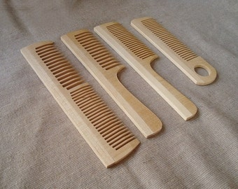 Set of 4 wood combs. Wood comb. Wooden combs. Wood combs. Eco-friendly combs. Decorative combs