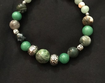 Jade and cream men's bracelet