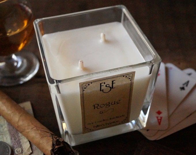 "Soy Wax Candle Sandalwood Musk, ""Rogue"", 7oz / 4oz, Essential oil, Scented Candle, Gift for him, Glass jar, Candles for men, Luxury candle"