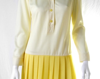 60s yellow pleated skirt button up dress