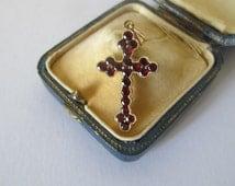 beautiful Garnet Vermeil Cross pendant - gold plated on sterling silver