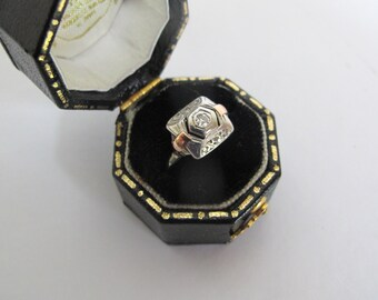 Fine Antique Art Deco 18Kt white and rose gold solitaire diamond engagement ring  / French Jewelry