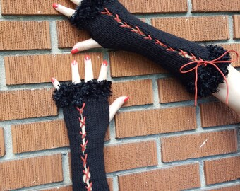 Fingerless corset gloves, wrist warmer, arm warmer