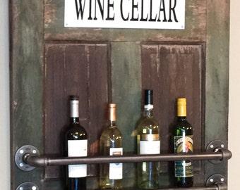 Reclaimed Barn Door and Pipe Wine Rack/Reclaimed Wood Wine Rack/Industrial Wine Rack/Rustic Pipe Wine Rack/Barn Door Wine Rack/Wine Rack